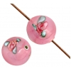 Glass Lamp Bead Round 8mm Opalescent Rose With Pink Roses